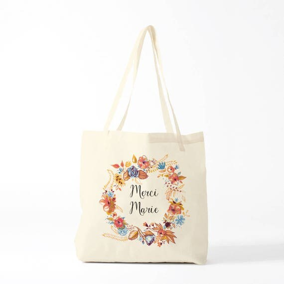 Tote Bag, Thank you Marie, blue, name of your choice, birth gift, canvas bag name, custom tote bag, name on a bag, purse, groceries bag.