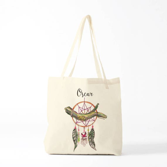Tote bag, Dreamcatcher, green, name, custom tote bag, canvas bag, novelty gift, gift coworker.