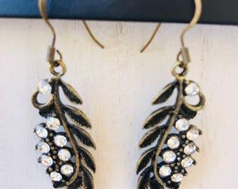 Bronze Rhinestone Embelleshed Leaf Earrings