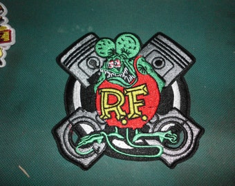 Rat Fink rods pistons crossed embroidered patch iron on sew on rat rod hot rod