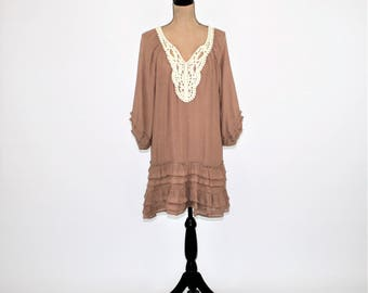 Hippie Dress Peasant Dress Boho Dress Mini Loose Fitting Romantic Lace Brown Mocha Taupe Cotton Blend New Womens Clothing Vintage Style