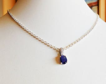 Sapphire pendant etsy natural sapphire pendant in 925 sterling silver and white gold aloadofball Image collections