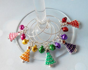 Festive Wine Charms, Decorative Glassware, Novelty Glass Rings, Gifts for Party Lovers, Tableware Decoration, Christmas Trees Themed
