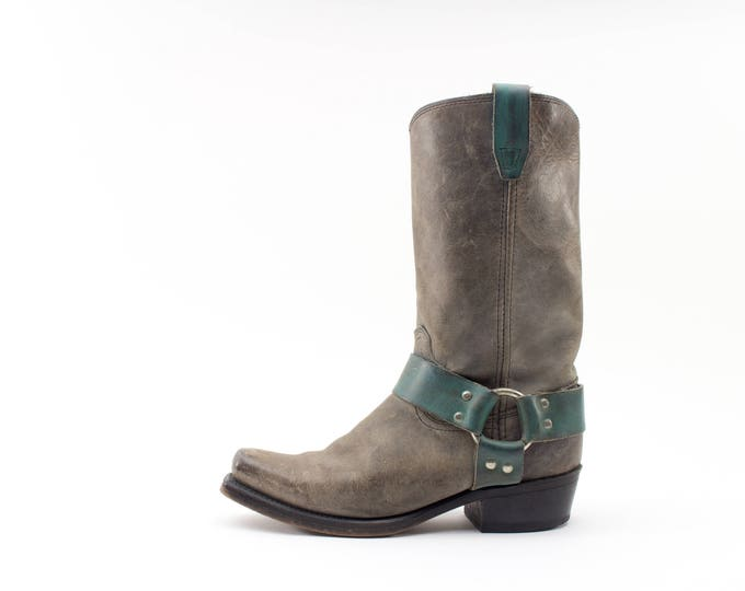 Vintage Boots | Grey Engineer Boots | Heavy Duty Leather | Size US Women's Size 7  EU 38  UK 5