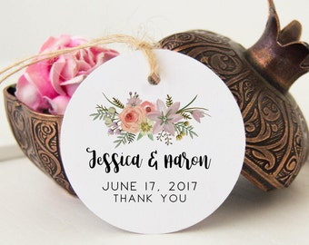 Name Wedding Tags, 24 Thank You Favor Tags, Bridal Shower Tags, Wedding Bag Tags, Thank You Favor Tags for Bridal Shower