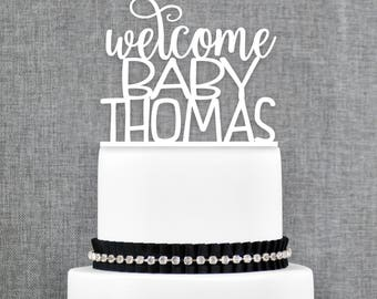 Custom Welcome Baby Cake Topper, Welcome Baby Name Shower Sign, Baby Shower Decorations, Baby Sprinkle Decor, Gender Reveal Topper (T408)