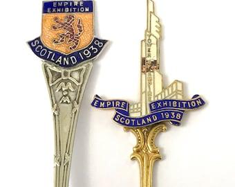 FREE POST - Vintage Collectible Spoons, Metal and Enamel, 1938 Scottish Empire Exhibition, Historical Souvenirs, Rare Vintage, Art Deco