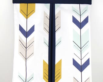 Nappy Stacker - Diaper Stacker with Navy & Mustard Arrows