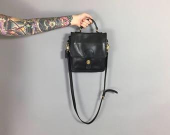 Vintage Coach Black Leather Crossbody Satchel Handbag Purse - Free Domestic Shipping