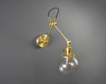 Brass Articulating Adjustable Industrial Wall Lamp with 6in. Glass Globe Gold Brass Boom Light Pharmacy Edison