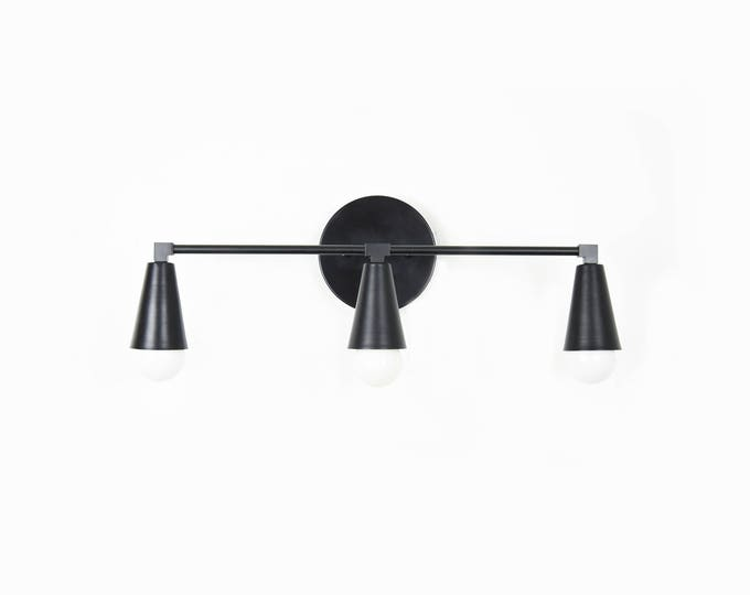 Wall Sconce Vanity Matte Black 3 Bulb Cone Covers Round Base Modern  Downward Abstract Mid Century