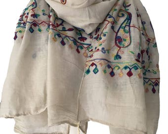 Oversized Tassel Scarf, Multi Coloured Embroidered Wrap, Dark Cream Beige Embroidery Floral Pattern Cotton Shawl