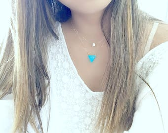 turquoise necklace turquoise jewelry trillion turquoise necklace 14k gold filled boho necklace geometric necklace layering necklace December