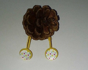 Earring color star glass cabochon