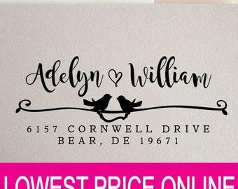 Love Birds Custom Return Address Stamp - Great Wedding, Newlywed, Housewarming, New Home, Realtor Gift! Self inked, Pre-inked RE624