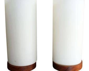 Pair of Mid-Century Danish Modern Cylindrical Walnut Base Table Lamps