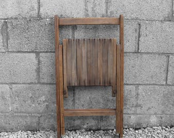 Military 1950s Folding Chair Wooden Dining Seat Patio Garden