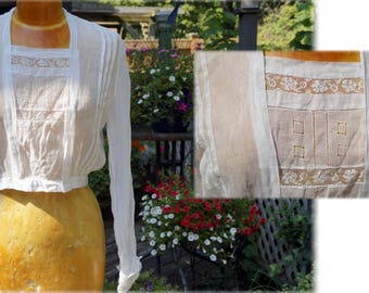 Antique Edwardian Blouse, Long Seeved Blouse with Cuffs,Hand Sewn Antique Blouse,White Sheer Cotton Top with Filet Lace & Drawn Thread Work