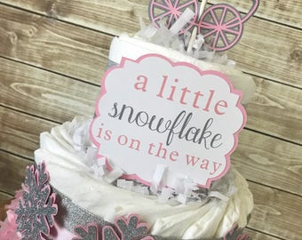 2 Tier Snowflake Diaper Cake in Pink and Silver, Winter Baby Shower Centerpiece for Girls, Snowflake Decorations