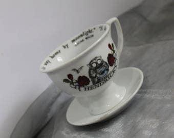 Hendrick's Gin Teacup & Saucer Oscar Wilde Quote Collectors Item for Gin Lovers