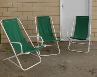 Mid Century Mod Metal Cruise Ship Deck Lounge Chair Set of 3 - Rocking Deck Lounge Patio Chairs