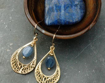 Fashion Gemstone Earrings; Kyanite Earrings; Gold Gemstone Earrings; Teardrop Gold Hoop Earrings; Iridescent Blue Kyanite