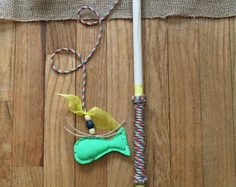 Green Fish Cat Toy, Kitty Toy, Kitten Toy, Pet Toy, Fishing Cat Toy, Pole Cat Toy, Colorful, Cute, Durable, Long Lasting