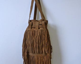 Rustic Suede Fringe Shoulder Bag