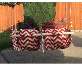 Twin Babies Fabric Swing.  Double Indoor/Outdoor Baby/Todler Swing with a Pillow
