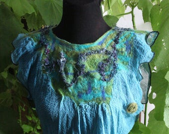 felted blouse, nuno felt, felt, wool, gauze, tunic, size 38, summer blouse, sea