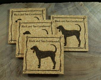 Black and Tan Coonhound Cork Coaster Set - Thick Laser Engraved Cork