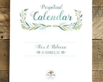 Personalized Large Floral Watercolor Birthday Calendar, Perpetual Calendar, Wedding Guest Book, Botanical Hand Painted Illustration