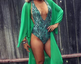 Green Boho Kimono, Beach Kaftan, Long Cover up, Plus size Cover up, Boho Cover up, Beach Coverup, Caftan Kimono, Gypsy Festival Outfit