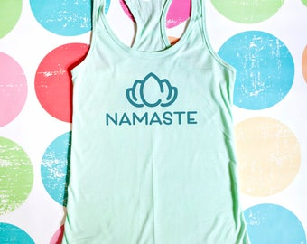 Namaste Yoga Tank Top - Mint Racerback Tank Top