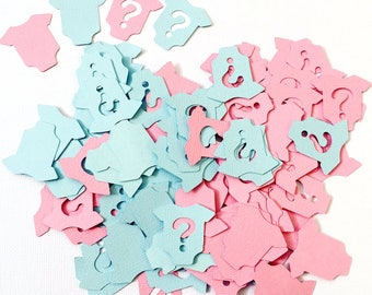 Mini Baby romper gender reveal shapes. Confetti shapes in pink and blue. Baby shower, party decor, scrapbooking, DIY craft, decorations.