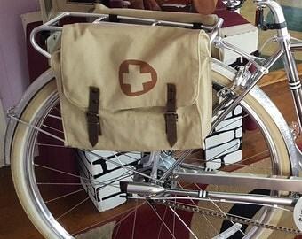 25% OFF Vintage Khaki Military Surplus Style Messenger Bag Bicycle Pannier With Medic Logo