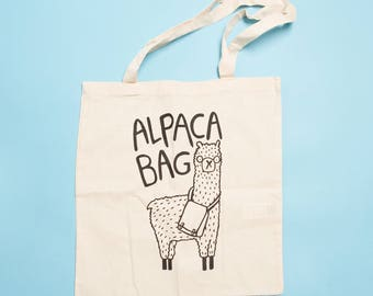 Alpaca Bag - Illustrated Screen Printed Tote Bag - Made in the UK - bag for life - shopping bag - gift for her - Katie Abey