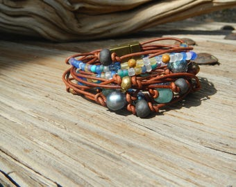 Beaded Bracelet ,Leather Wrap Bracelet , Boho Wrap Bracelet,  Leather Wrap, Beaded Wrap,  Leather Bracelet,  Wrap Leather Bracelet, JEWELRY