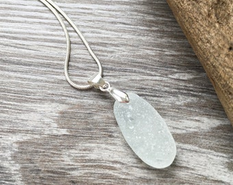 Natural sea glass pendant, Cornwall beach glass necklace, ocean, mermaids tears, sea glass jewelry, birthday gift for her, wife, girlfriend
