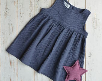 Girls Muslin Sleeveless Dress Cotton Dark Blue
