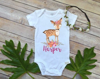 Custom Baby Gift, Personalized Baby Gift, Newborn Baby Gift, Baby Girl Gift, Baby Shower Gift, Custom Baby Gift, Personalized Floral Deer