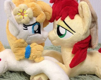 Set of two plushies - Made to Order - Bright Mac and Pear Butter - My Little Pony