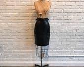 1980s High Waisted Leather Skirt // 80s Claude Montana Lambskin Mini Skirt // Vintage 1980s Black Leather Skirt