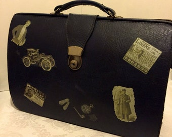 Reclaimed 1980s Blue Briefcase Portfolio Bag By Next, Vintage Luggage, Applied Victorian Advertising Sepia Transfers, Mens Grooming