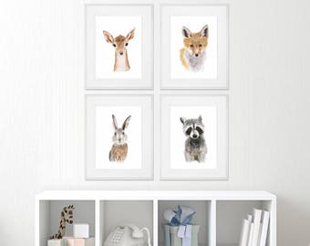 Woodland Animals - Framed Nursery Art - Set of 4 - Baby Animal Prints - Woodland Nursery Print Set - Framed Animal Prints - Framed Print Set