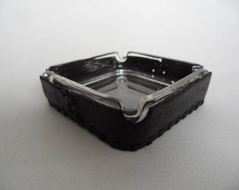 Vintage glass ashtray with leather cover,4 seats clear glass ashtray,smoker utensils,removable ashtray,Vintage smoker ware