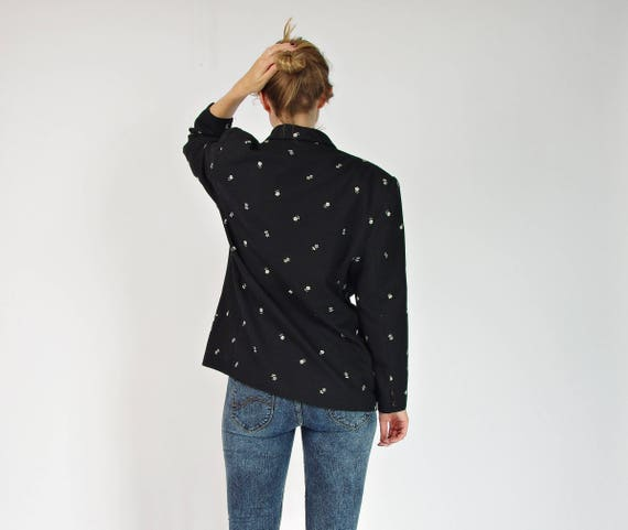 80s Ginger double breasted embroidered wool blended jacket made in France / size M/L
