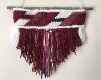 Diagonal Maroon Stripe: Mini Tapestry