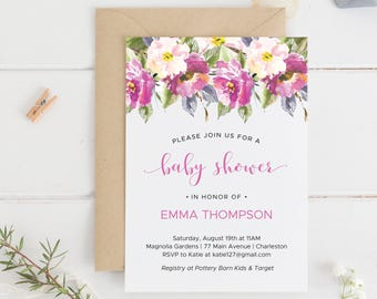 Pink Flowers Baby Shower Invitation Printable, Editable Baby Shower Invitation,  Pink Florals Baby Shower Template, Instant Download.