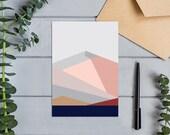 Black Peak, Wanaka, New Zealand Modern Abstract Geometric Landscape Design Greeting  Card